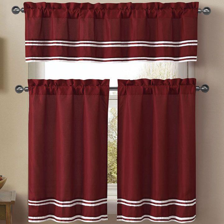 VCNY 3-pc. Microfiber Rod-Pocket Kitchen Curtain Set