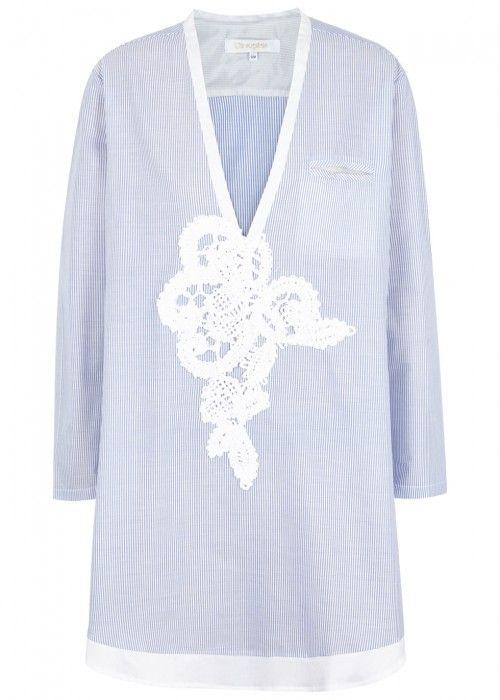 LILA.EUGENIE LILA. EUGÉNIE PINSTRIPED APPLIQUÉD COTTON SHIRT DRESS. #lila.eugenie #cloth #