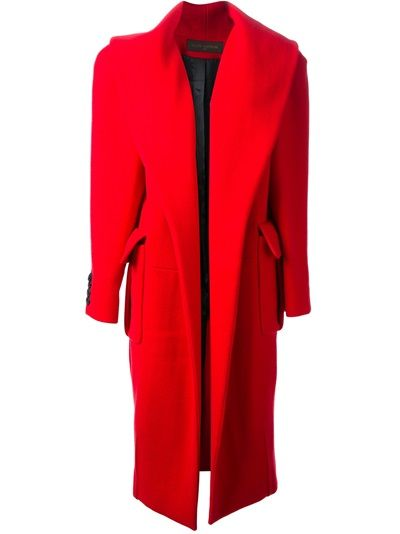Isn't it wonderful???  We love this Louis Vuitton vintage red cotton and alpaca open coat from A.N.G.E.L.O.. Featuring a wide lapel, long sleeves with button cuffs, front flap pockets and a rear vent at the hem.
