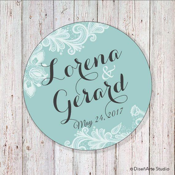 Wedding Label: Tiffany Mint Blue  2 Round Label