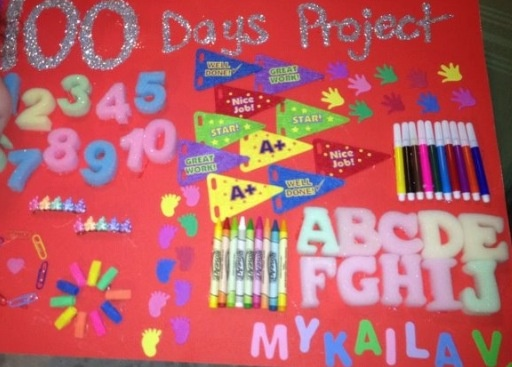 100 days of school project. My daughter's Kindergarten project. Each year is bigger!  ~Mommy Joi