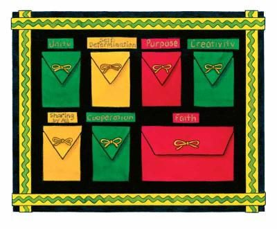 Kwanzaa calendar design features seven envelopes, one for each of the seven principles of Kwanzaa, that provide a glimpse into the traditions, culture, and cornerstones of the holiday.  Open one envelope each day before and explore each principle with traditonal Kwanzaa snacks or craftivities {perhaps correlating with the seven symbols of Kwanzaa!}.