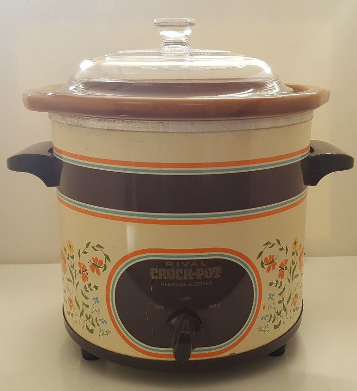 Vintage Rival Crock Pot Slow Cooker 3 1/2 qt Country Floral Almond Model 3150/2  #Rival