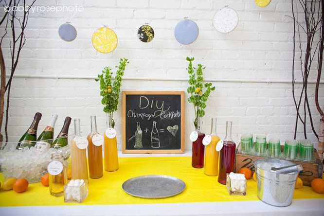 DIY Champagne Cocktail bar!  LOVE this. Housewarming party idea... I think so ;)  Or maybe a shower? Or reception?  Heck... let's just have a party ;)
