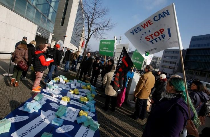 Support for the transatlantic trade deal known as TTIP has fallen sharply in Germany and the United States, a survey showed on Thursday, days before Chancellor Angela Merkel and President Barack Obama meet to try to breathe new life into the pact.