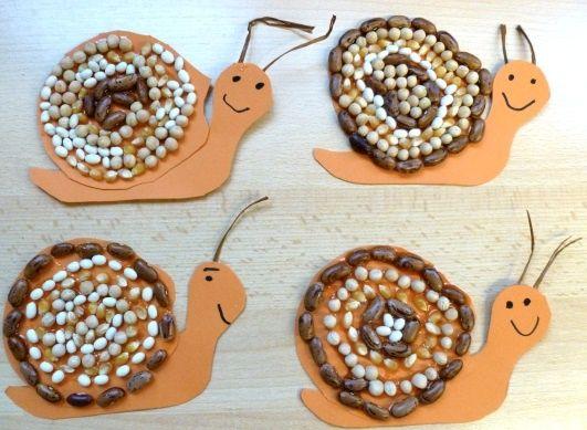 DIY Spring Kids Craft: Watch out the Snails are here!, with their houses made from dried beans and seeds. ⭐⭐⭐DIY Lente Kinder Knutsel: Pas op daar komen de slakken……met een huisje van gedroogde peulen en zaden. rosi pfei DIY und Kunsthandwerk