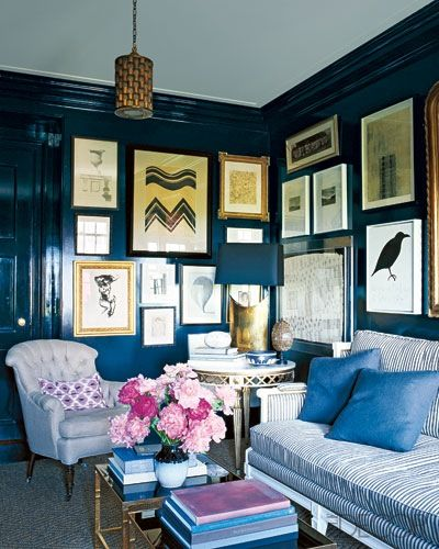navy blueWall Colors, Nate Berkus, Elle Decor, Blue Wall, Interiors, Livingroom, Gallery Walls, Living Room, Dark Wall