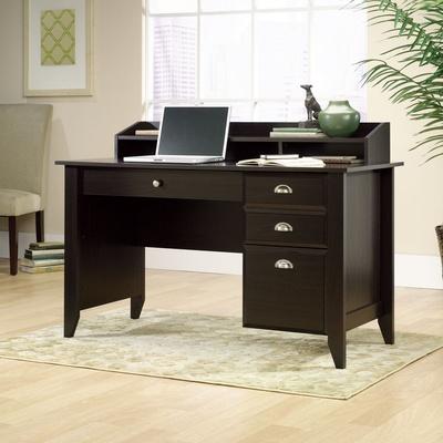 sauder shoal creek computer desk in jamocha wood finish