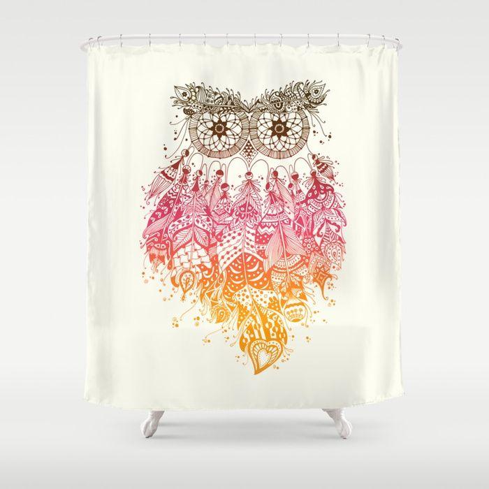 Orange Dream Catcher Shower Curtain