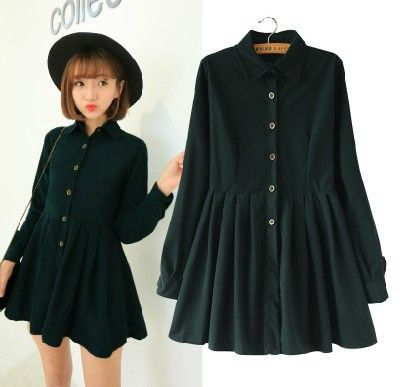 Japanese Korean Style College School All Match Corduroy Dress Lady Long Sleeve Sweet Navy Fashion Dress Women Winter Dress
