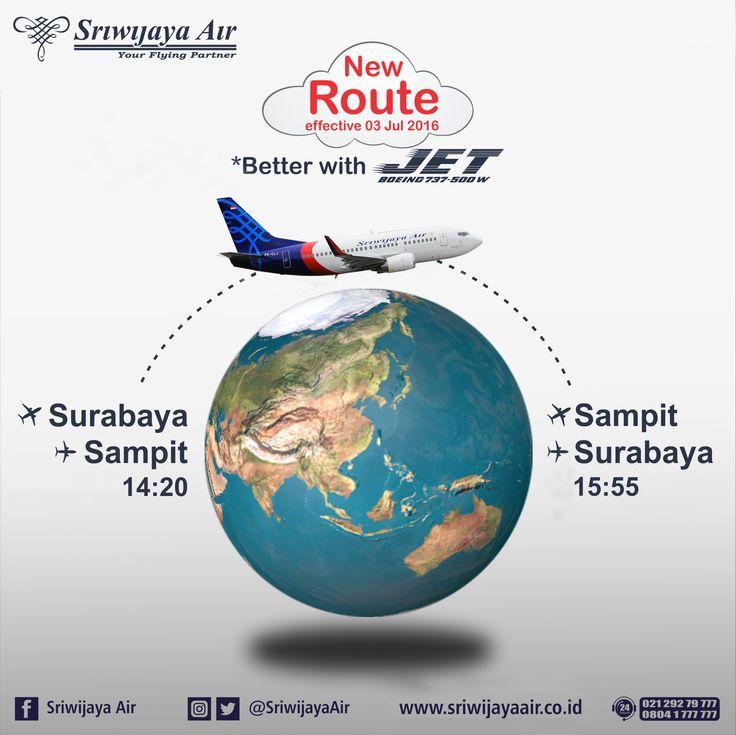 Rute Baru Surabaya - Sampit PP. Book Now : sriwijayaair.co.id | bit.ly/sriwijayamobile | 021-29279777 / 0804-1 777 777 | Kantor Penjualan Sriwijaya Air Group di Seluruh Indonesia | Travel Agent Kepercayaan Anda. Sriwijaya Air Group.