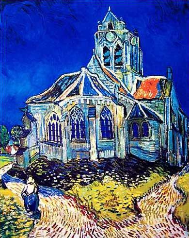 Church at Auvers by Vincent Van Gogh.  Oil on Canvas. 1890