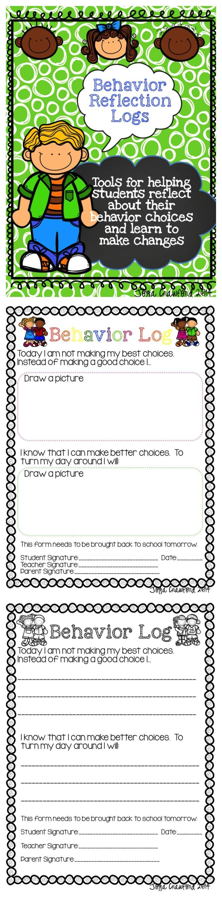 Looking for effective behavior reflection logs that help students reflect about their behavior in a meaningful way? Included are an early primary version where students draw pictures of what happened to reflect on their choices and a later primary version where students write what happened as they reflect upon their behavior choices. There are color and black and white versions of each.