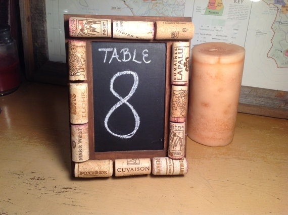 Rustic Wedding Table Numbers Made With Wine Corks On A