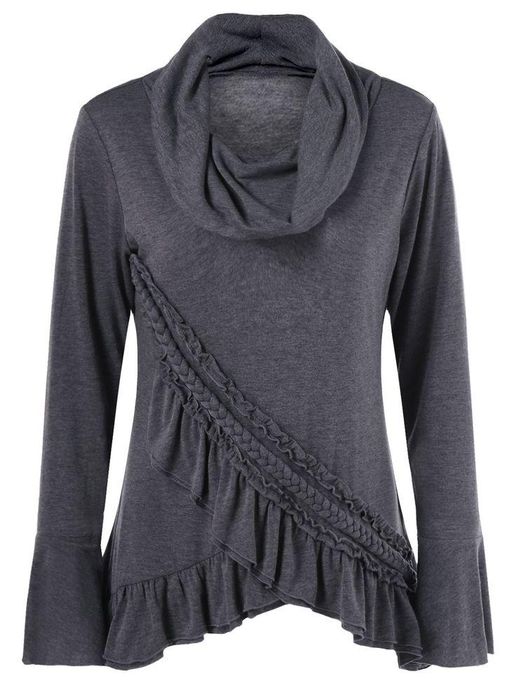 Tees & T-Shirts | Deep gray Ruffled Braid Tulip Hem T-Shirt - Gamiss