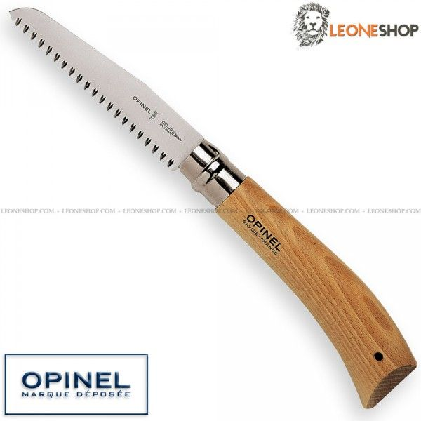 """Garden Folding Saw No.12 Virobloc OPINEL France, handmade france gardening cutlery, garden knives with serrated blade of 12C27 Sandvik Stainless Steel of high quality - HRC 56/58 - Blade lenght 4.7"""" - Thickness 0.08"""" - Handle made with Beech Wood, a very elegant wood, hard, compact and with very light color - Steel bolsters - Traditional Lock system + VIROBLOC Blade Safety Lock patented by OPINEL that locks the blade either in opening and closing position - Overall lenght 11.3"""" - OPINEL…"""