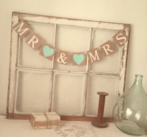 Mint Wedding Banner. Handmade Mr & Mrs wedding banner with bright mint hearts and cream lettering.