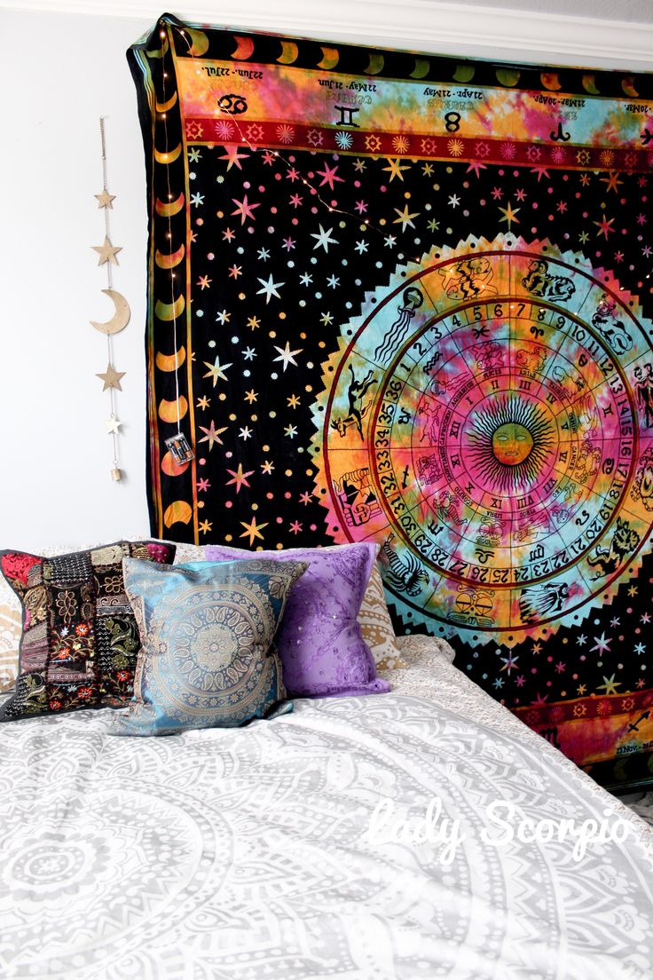 ☽✮☾Rainbow Zodiac Calendar Tapestry Gold Moon & Stars Decor, Pillows, Mandala by Lady Scorpio | Shop Now LadyScorpio101.com | @LadyScorpio101 | Photography by Luna Blue @Luna8lue | Boho Bedroom Inspiration.