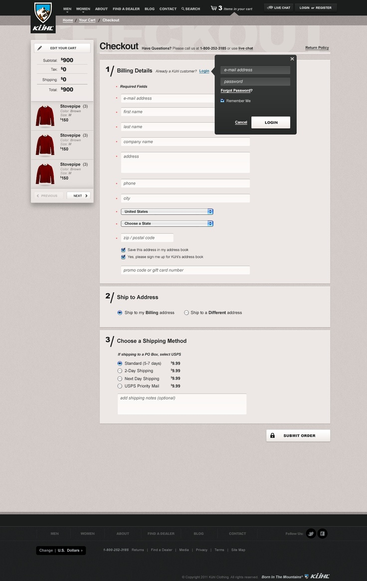 Kühl Consumer E-Commerce - Ben Cline // Creative Direction & Design  #checkout #ecommerce #websitedesign #webdesign #shoppingcart #cart