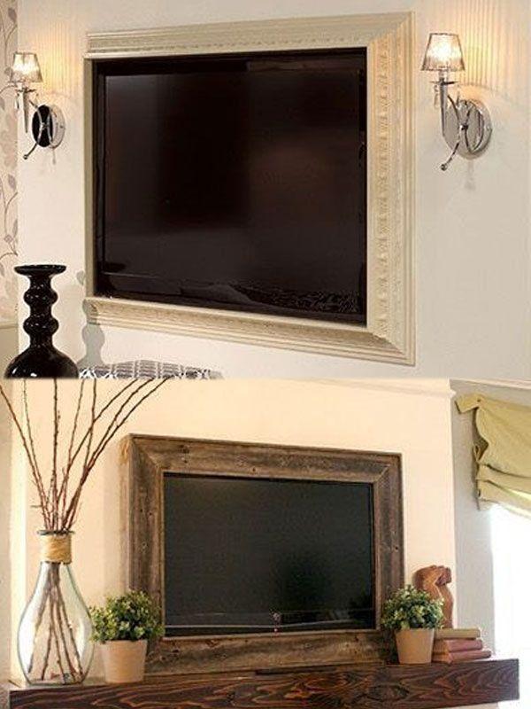 Lijst je tv in. Met wat fraaie profiel-latjes of juist grof sloophout maak je eenvoudig een mooi frame rond je tv.