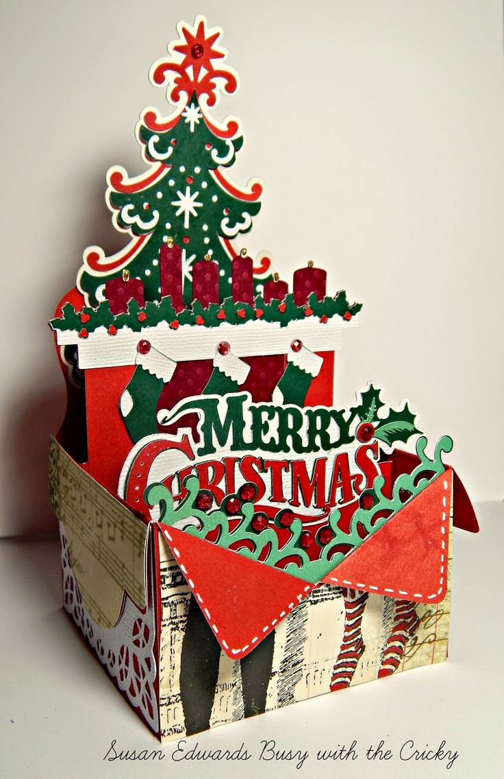 Busy with the Cricky: Merry Christmas Festive Box Card using SVG Box, Winter Wonderland, and Cricut Quilted Christmas