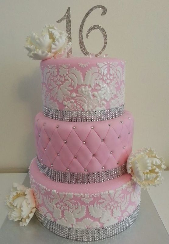 Sweet 16 3-layered cake #sweet16party #sweet16cakes