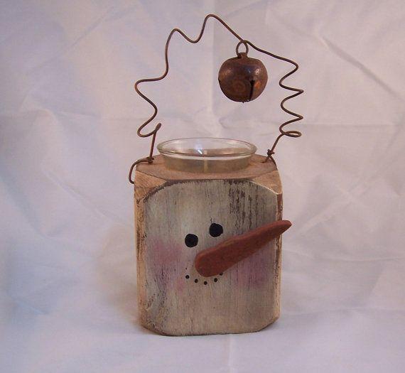 wooden block votice holder snowman