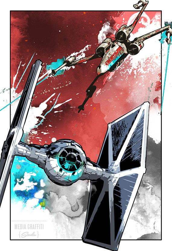 Star Wars, X Wing, Tie Fighter, space battle, Geekery, fan art, illustration, Poster size, Canvas art print available in 18x24 or 24x36. on Etsy, $100.00