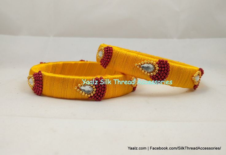 Yaalz Simple Bangle Pair In Golden Yellow With Red Chain Work !!  Price Rs.120 per pair For Orders Ping us In WhatsApp +91 8754032250 or 8971045612