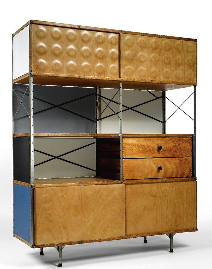 ESU (Eames Storage Units) 400 Unitate de depozitare cu uși superioare gliante sub formă de panouri alveolate, ș950 design de Charles & Ray Eames