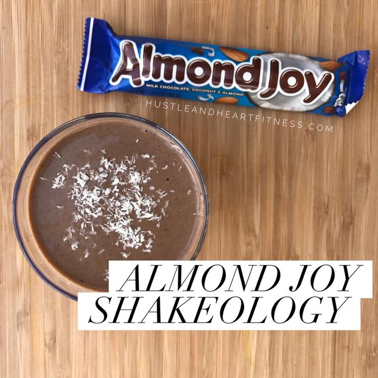 Another great recipe you can enjoy rather than reach for a candy bar! 1 Scoop Chocolate Shakeology 1 Cup Coconut Almond Milk 2 Tbsp. sliced almonds