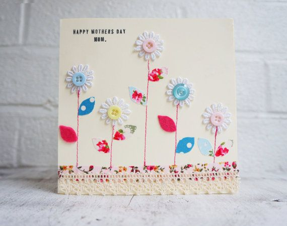 Mothers day card with buttons and flowers handmade by SewMice, £3.00