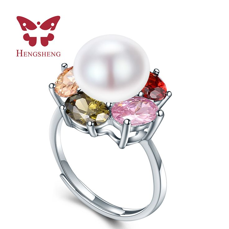 HENGSHENG Colorful Flower Wedding Rings High Quality Jewelry Natural Big Pearl Adjustable Rings For Women