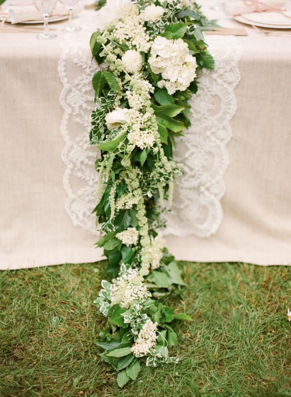 Greenery and floral garland wedding decoration ideas