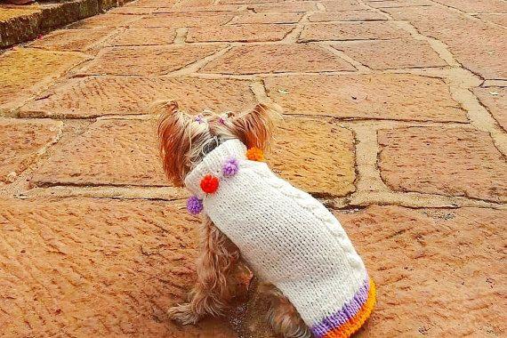 Turtleneck Pom Dog Sweater / Hand-knit / Pure Soft by CasaLunaCo