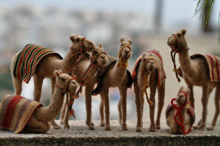 Needle felted-Nativity Set-Nativity-Waldorf- Camel-  doll- wool soft sculpture-Made to order. $98.00, via Etsy.