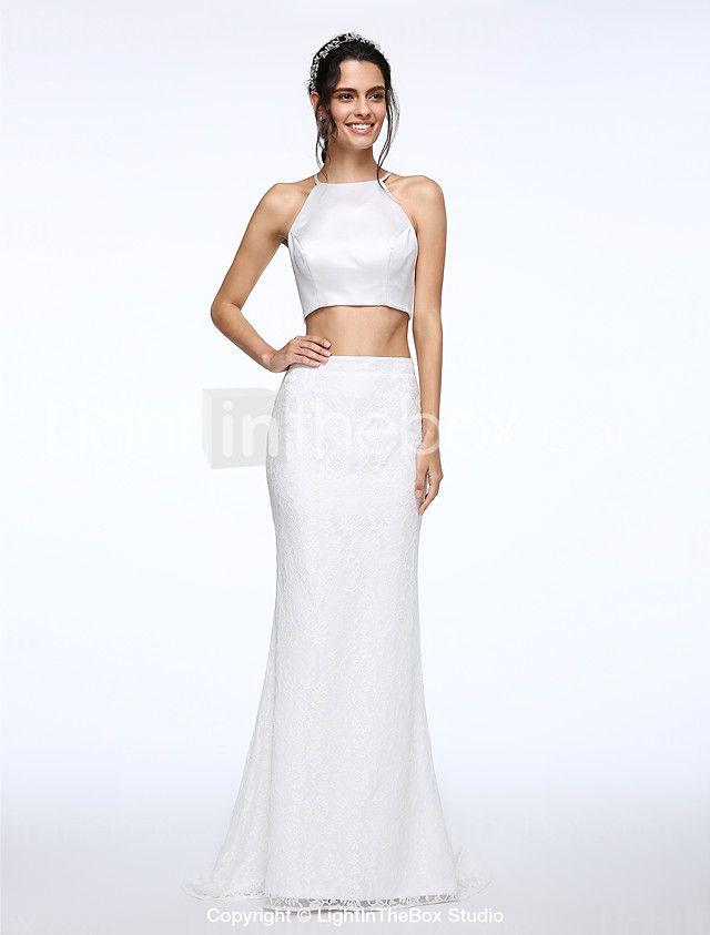 Lanting Bride® Sereia Vestido de Noiva Cauda Escova Decorado com Bijuteria Renda / Cetim com Botão de 2016 por R$270.37