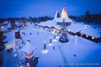 Santa Claus Village at arctic circle line in Rovaniemi in Lapland