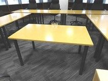 Sven Christiansen 1400mm wide oak mfc rectangular tables with graphite grey legs.