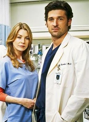 Ellen Pompeo, Patrick Dempsey as Dr. Meredith Grey & Dr. Derek Shepherd, Grey's Anatomy.