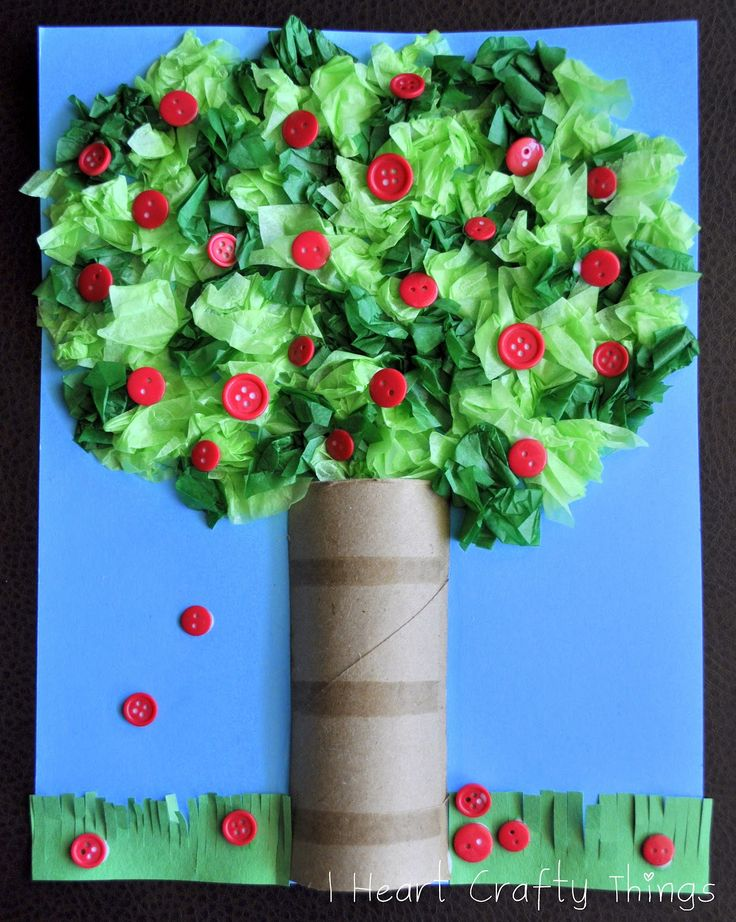 Cardboard Roll Apple Tree Craft