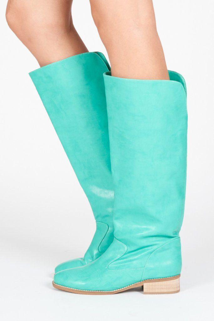 7af8c12a7c50 Anne Pull-on Tall Boot - Teal. Vegane StiefelFlache StiefelSeegrünPunk Fußbekleidung