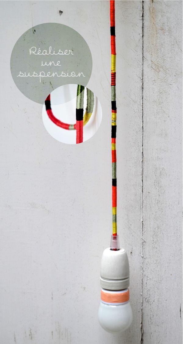 ROSE ET VERT: DIY une ampoule suspendue rasta avec des fils de couleurs