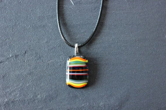 Multi Coloured Striped Glass Fused Pendant by GlassJewelleryByJ