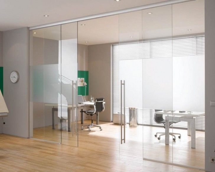 Doors, Exciting Interior Sliding Glass Doors Modern Design Frameless With Office Furniture For Swivel Chairs And Desk Equipped Also Laminate Wood Floors Along With Contemporary Minimalist Workspaces: Using Internal Sliding Glass Doors for Your Home Setup