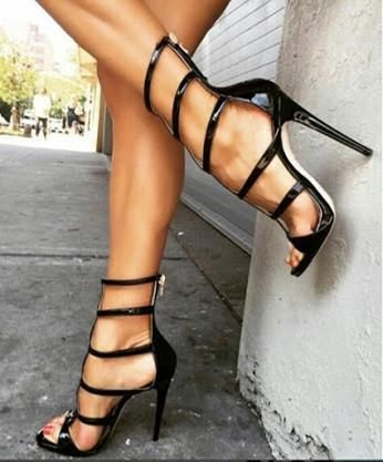491d351309c FSJ Leila Black Gladiator Sandals Strappy Open Toe Stiletto Heels Sandals  Sexy Stripper Shoes Street Style