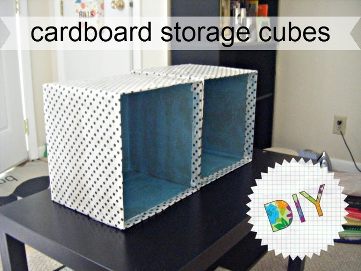 SUPER CUTE! Cardboard Storage Cubes. Made from plain cardboard boxes, covered & lined w/ tissue paper! Good How To