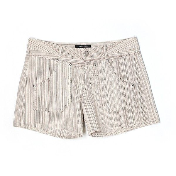 Pre-owned BCBGMAXAZRIA Denim Shorts Size 6: Beige Women's Bottoms ($34) ❤ liked on Polyvore featuring shorts, beige, jean shorts, short jean shorts, denim shorts, beige shorts and denim short shorts