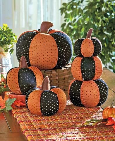 country primitive rustic stuffed pumpkins quilted decor black orange polka dot