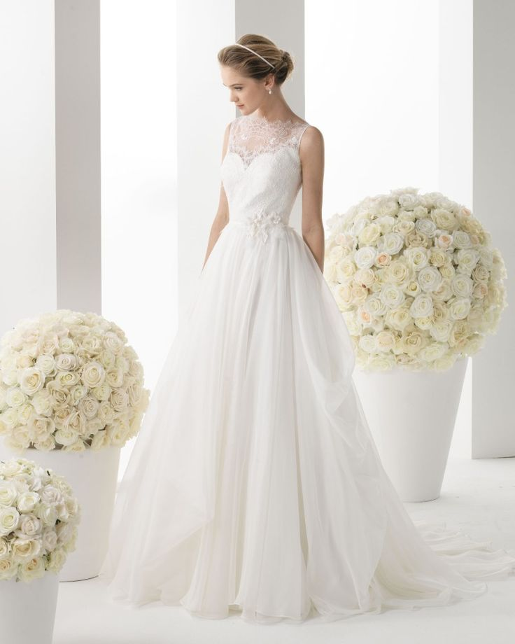 Chiffon Tank Top Chapel Train A Line Wedding Dress